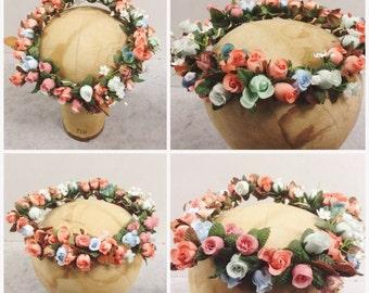 Vintage OOAK hand made floral wedding wreath bridal tiara