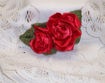 Scarlet Red Double Rose Hair/Lapel Clip .. Wired Polyester Red Ribbon  and Wired Forest Green Ribbon Create a Large Floral Applique Display.