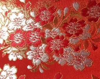 Japanese gold brocade SAKURA Cherry blossoms- Red
