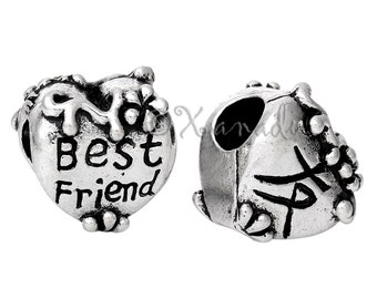 Best Friend Heart With Chinese Character European Charm Bead - Double Sided Bead Fits All European Charm Bracelets