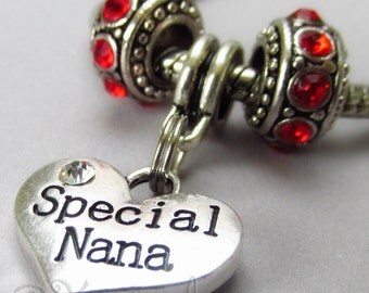 Special Nana European Charm Pendant And Rhinestone Birthstone Beads For Large Hole Charm Bracelets - Gift Idea For Grandmothers