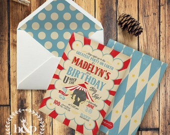 Vintage Inspired Circus or Carnival Birthday Party Invitation