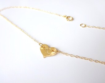 Gold Anklet Initial Anklet Heart Initial Anklet Gold Ankle Bracelet Dainty Gold Anklet Personalize Anklet Custom Jewelry Gold Initial Anklet