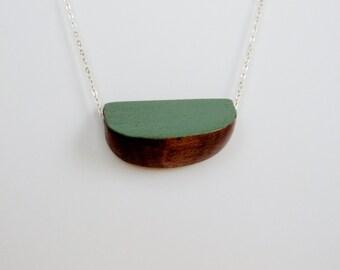 Walnut Wood Geometric Silver Necklace Mint Green