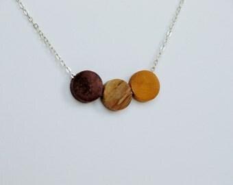 Walnut and Birch Wood Geometric Silver Necklace mustard yellow
