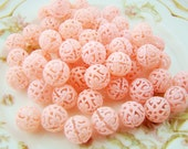 Vintage Pink Plastic Lace Filigree Beads 12mm Round - 12