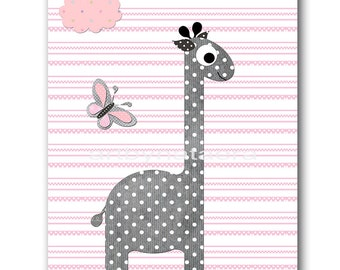 Pink Gray Giraffe Nursery Decor Childrens Art Print Playroom Decor Baby Room Decor Kids Art Baby Girl Nursery Prints Kids Wall Decor