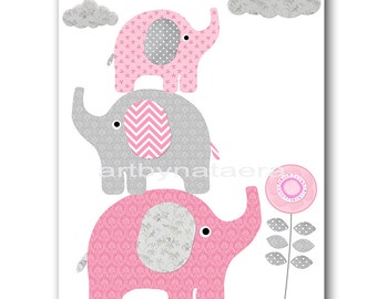 Pink Gray Elephant Nursery Decor Playroom Decor Childrens Art Print Baby Room Decor Kids Art Baby Girl Nursery Prints Kids Wall Decor
