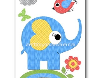 Blue Yellow Green Gray Elephant Nursery Art Print Baby Boy Nursery Print Kids Wall Art Childrens Art Print Kids Art Kids Room Decor 8x10