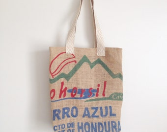 Farmers Market Bag / Upcycled Burlap Tote / Large Tote Bag / Coffee Bean Bag / Market Tote / Reusable Handmade Bag