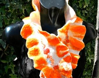 SALE ITEM Handmade white and orange merino wool neck warmer.
