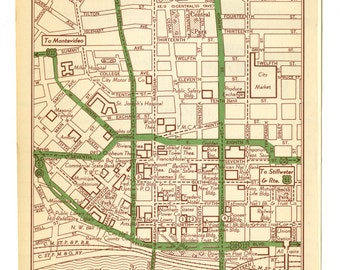 Vintage Map of Saint Paul Minneapolis From 1951 Original