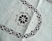 Antique Linens - Irish - Embroidered Irish Cloth - Decorated with Irish Bobbin/Cluny Lace - White - Wedding Table - Drawn Work - Trousseau
