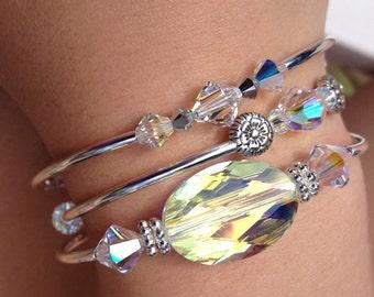 Layering Bracelets, Sparkle Bangles, Swarovski Crystal, Set of 3, Bling, Crystal Bangles
