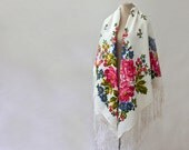 Russian shawl, white shawl with poppies, summer shawl, lightweight throw, cottage shawl, vintage Russian scarf, silk shawl, cotton shawl