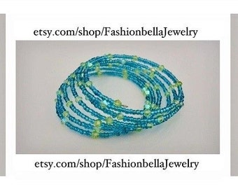 Memory wire with blue seed beads and light green crystals