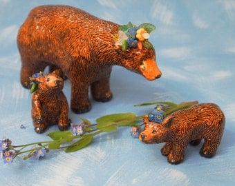mom bear and her two cubs small ceramic sculpture set OOAK