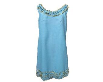 Vintage 1960s Dress Mod Funky Sleeveless Shift with Ruffles