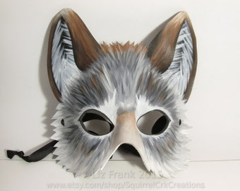 Half Timber Wolf Mask, Leather Mask, Animal mask, Grey wolf, gray wolf, Animal Costume, LARP Garb, Cosplay,  Halloween Costume