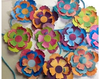 Flower Garland - Colorful - Bunting - Dimensional paper flowers - Wedding - Birthday Party decoration - summer decor - Pretty - handmade