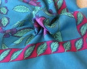 "Large Turquoise Blue Floral So Soft Poly Scarf 31"" Square"