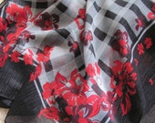 """Red Black Gray Soft Poly Scarf 22"""" x 60"""" Long"""