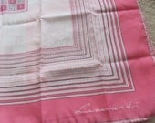 "Large Pink White Leonardi Soft Scarf 32"" Square - Affordable Scarves!!!"