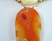 SALE---Orange Agate Pendant and Natural Stone Necklace 2419