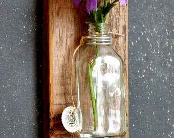 Wall Mounted Single Bud Vases Made w/ Reclaimed Wood From Deconstructed Detroit Houses