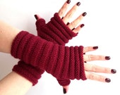 SALE - 30%OFF. Knit Fingerless Gloves. Burgundy Knit Mittens. Hand Knit Gloves. Knitted Wrist Warmers. Fingerless Mittens. Marsala Gloves.