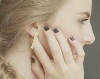 Brass Bar Earrings - Minimal - Sterling Silver - Simple
