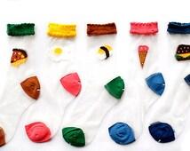 Transparent Silk Food Socks Fun Novelty Womens