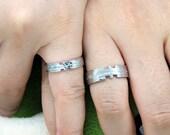 Custom Engraved Couples Titanium Lovers Promise Rings Set for 2