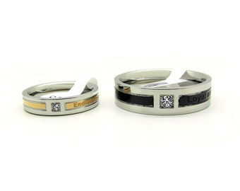 couples titanium promise rings for both and by