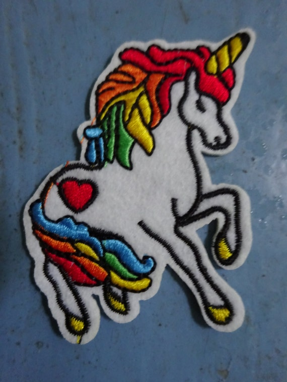 Rainbow unicorn embroidered patch ready to by thewordemporium