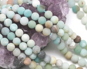 Lot of 5 strands 6mm Matte Multicolor Amazonite Loose Spacer Beads Round 15.5 inch strand (BD5704)