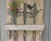 Shabby Chic Bird on Vine Wall Decor with Box