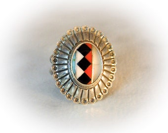 Vintage Zuni Signed      Sterling Silver Inlay Ring   Size 8