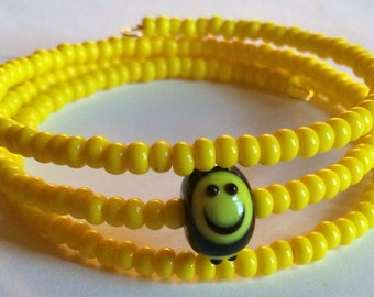 "Colorful ""Keep on Smiling"" Beaded Memory Wire Bracelet"