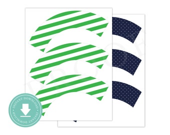 INSTANT DOWNLOAD Green and Navy Cupcake Wrappers (Green Nautical Party, Printable Cupcake Wrappers, Boys Preppy Nautical Party)
