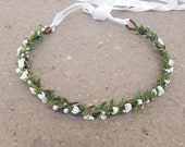 Flower Girl Crown, White Flower Crown, Bridal Headpiece, Thin Flower Crown, Simple Flower Crown, Bridal Headdress, Woodland Flower Crown