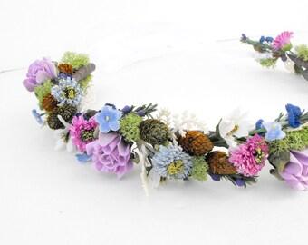 ON SALE! Flower Crown, Bridal Headpiece, Blue & Purple Wedding Crown, Boho Wedding Headpiece, Bridal Crown, Flower Headdress, Head Wreath