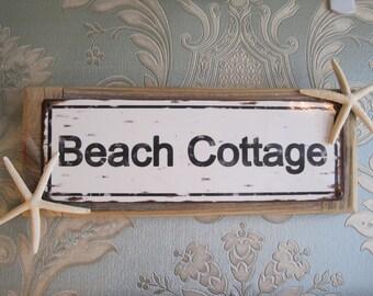 """Beach Decor Sign - """"Beach Cottage"""" Sign - Coastal Home Decor - Wooden Sign - Beach Sign - Starfish - Beach Cottage"""