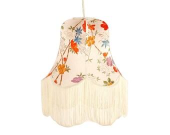Kimono Lamps Medium Pendant Cream Silk Lampshade with Fringe - Springtime in Tottori