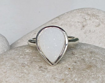Rose Gold Druzy Ring- Pear Shape Druzy Promise Ring- Oval White Solitaire Ring- Pink Druzy Statement Ring- Jewelry Gifts for Her-