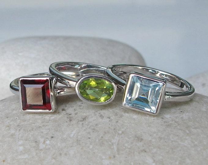 Birthstone Stack Ring- Mothers Ring- December Ring- Topaz Ring- Garnet Ring- January Ring- August Ring- Peridot Ring- Gemstone Ring
