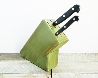 SALE - Knife Block - Olive Green - Country Chic Kitchen Decor