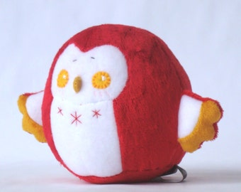 Red Chubby Owl Squishy Plush Doll