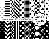 "Black and White Digital Papers - Matching Solid Included - 21 Papers - 8.5"" x 11"" - Instant Download - Commercial Use (055)"