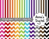 "Chevron and Vertical Stripe Digital Papers - Matching Solids Included - 30 Papers - 8.5"" x 11"" - Instant Download - Commercial Use  (036)"